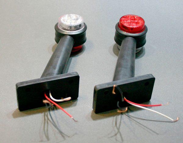 Габаритные огни типа «Рога» LED DC 12-24V, Красный, Белый, 2 шт, FT-353