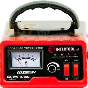 INTERTOOL – Зарядное устройство 6/12В, регулировка силы тока 0-10А, 230В AT-3020