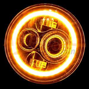 Тюнингованные LED фары с ангельскими глазками, ДХО и дублером поворота на ВАЗ 2101-2102, Волга, Нива, 2шт