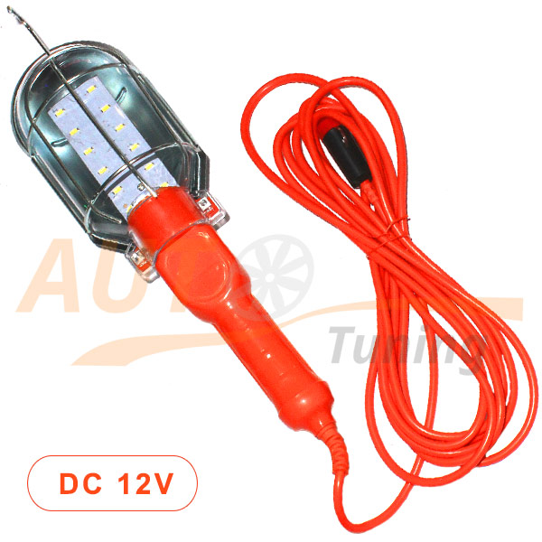 Светодиодный фонарь-переноска 12 LED, DC 12V, шнур 5м, DK-18529