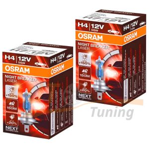 Галогенные лампы OSRAM Night Breaker Laser Н4, DC 12V, 60/55W, 2 шт, +130% яркости
