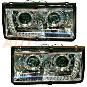 Комплект, блокфары на ВАЗ 2104-05-07 со светодиодными ДХО, Tuning (PG), 2шт, ER-650K