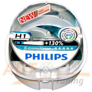 Автомобильные галогенные лампы PHILIPS X-treme VISION Н1, DC 12V, 55W, 2 шт, +130% яркости