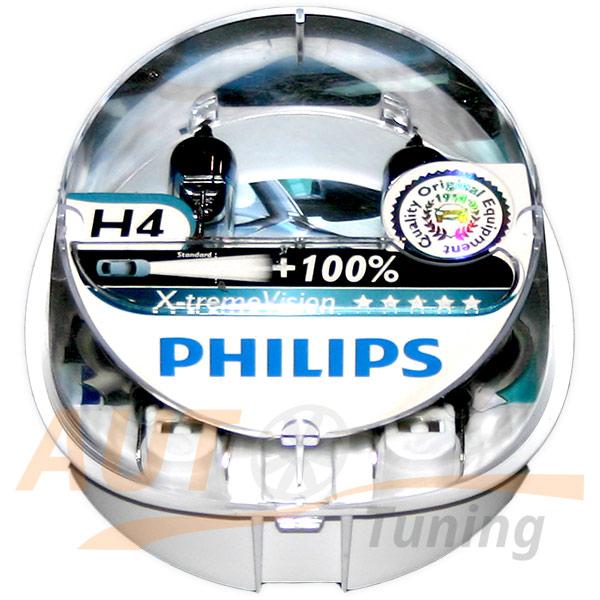 Галогенные лампы PHILIPS X-treme VISION Н4, DC 12V, 60 / 55W, 2 шт, +100% яркости