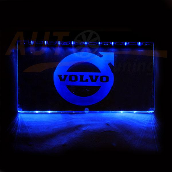 Логотип VOLVO на прозрачной основе со LED подсветкой Blue, 2 присоски, DC 12-24V
