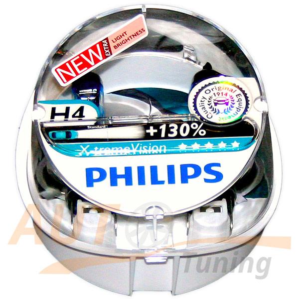 Галогенные лампы PHILIPS X-treme VISION Н4, DC 12V, 60 / 55W, 2 шт, +130% яркости