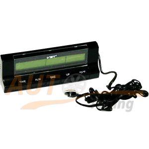 IRIDIUM – Часы автомобильные с термометром, будильник, синяя подсветка дисплея, VST-7037