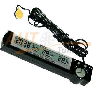 IRIDIUM – Часы автомобильные с термометром, будильник, синяя подсветка дисплея, VST-7043