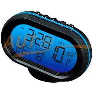 Часы с термометром, вольтметр, календарь и будильник, многореж. подсветка, VST-7009V