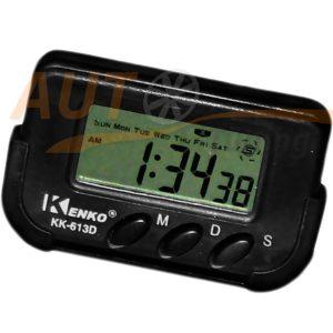 KENKO - Часы автомобильные, будильник, таймер, секундомер, день недели, питание AA, подставка на скотче, KK-613D