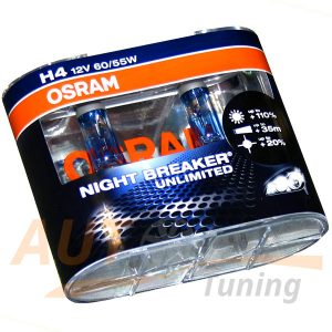 Галогенные лампы OSRAM Night Breaker Unlimited, Н4, DC 12V, 60/55W, 2 шт, +130% яркости