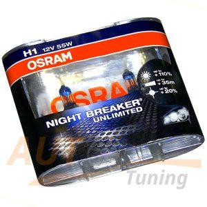 Галогенные лампы OSRAM Night Breaker Unlimited, Н1, DC 12V, 55W, 2 шт, +110% яркости