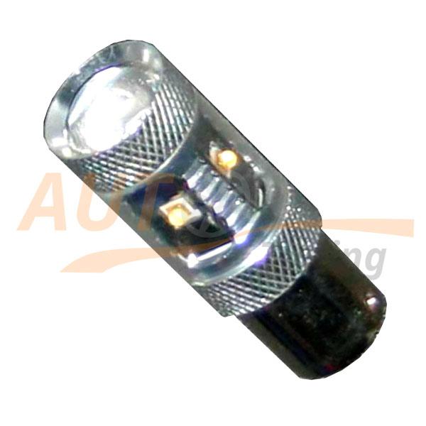 Светодиодная лампа белого света с линзой и «обманкой» ПК, 22W, P21W