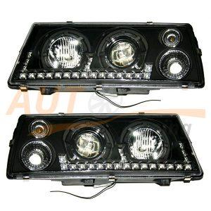 Комплект оптики SPUTNIC на ВАЗ 2108-09-099, фара с ангельскими глазками и ДХО, 2шт, Tuning Black