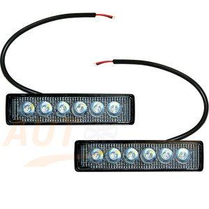 Светодиодные лампы-фары 6 LED, 147×35 (мм), дальний свет, 2 шт, 1978PT-S