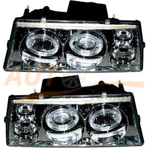Комплект оптики SUPRA на ВАЗ 2108-09-099, фара с ангельскими глазками, 2шт, Tuning Chrome