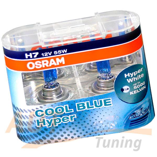 Галогенные лампы OSRAM Cool Blue HYPER H7, DC 12V, 55W, 2 шт