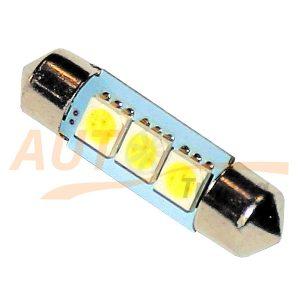 Софитная светодиодная лампа белого света, 3 LED, DC 12V, SV 8.5-35