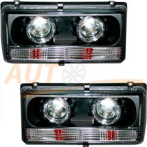Комплект, блокфары на ВАЗ 2104-2105-2107 с ангельскими глазками, 2шт, Tuning Black EX