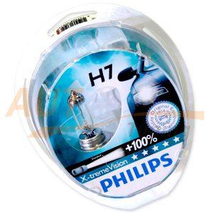 Галогенные лампы PHILIPS X-treme VISION Н7, DC 12V, 55W, 2 шт, +100% яркости
