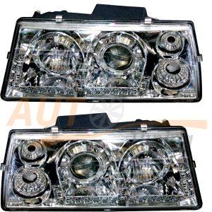 Комплект оптики на ВАЗ 2108-09-099, фара с ангельскими глазками и ДХО, 2шт, Tuning Chrome