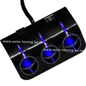 Трехканальный разветвитель розетки прикуривателя с выключателем и разъемами USB, 12V-24V, BLACK