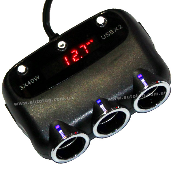 Трехканальный разветвитель c вольтметром и коммутацией, USB, 12V, Black, HS-083