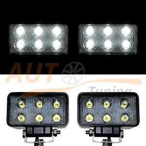 Светодиодные лампы-фары 6 LED, 110×90×50 (мм), дальний свет, 2 шт, BOL 01033