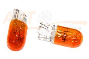 Тонированные безцокольные оранжевые лампочки-подсветки на 12 вольт в повторители поворотов