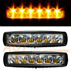 Тюнингованные фары 6 LED, 156×45×70 (мм), ближний свет (Orange), 2 шт, DKB218W
