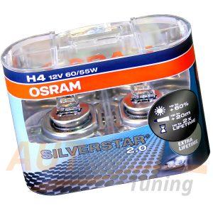 Галогенные лампы OSRAM SILVERSTAR 2.0, H4, DC 12V, 60 / 55W, 2 шт