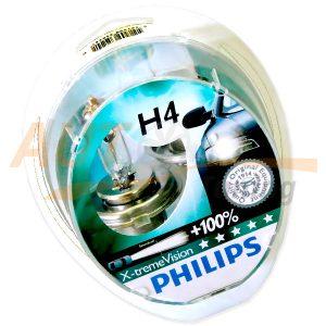Галогенные лампы PHILIPS X-treme VISION Н4, DC 12V, 55W, 2 шт, +100% яркости