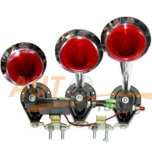 Звуковой воздушный сигнал, линейный 3-х рожковой, DC 24V, Chrome, KH-103
