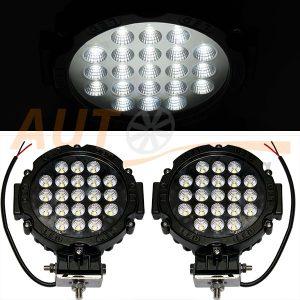 Светодиодные лампы-фары 21 LED, 175×210×60 (мм), дальний свет, 2 шт, 62-63W