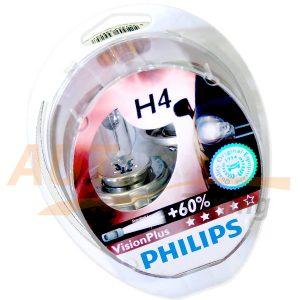 Галогенные лампы PHILIPS Vision Plus Н4, DC 12V, 55W, 2 шт, +60% яркости