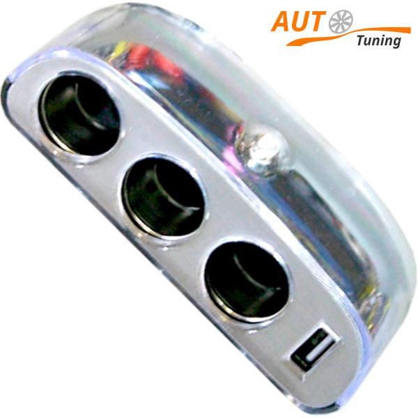 Трехканальный разветвитель питания розетки прикуривателя, USB, CMP-6