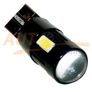 Безцокольная LED лампа белого света с линзой и резистором для БК, DC 12V, LW-0005BL