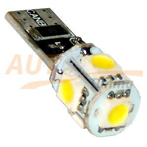 Безцокольная LED лампа белого света с резистором для БК, 5 LED, DC 12V, LW-0011W