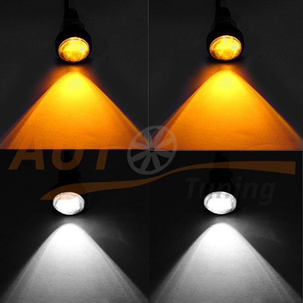 Двухцветные светодиодные глазкѝ (ДХО) c линзами, 2 шт, 12V, 6+6 Led, W/O