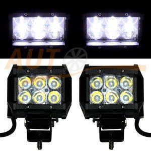 Светодиодная лампа-фара 6 LED, 100×75×70 (мм), дальний свет, 1 шт, D-18