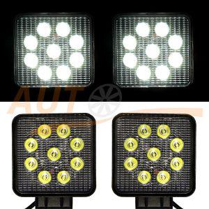 Светодиодная лампа-фара 9 LED, 110×130×40 (мм), 1 шт, 06-27
