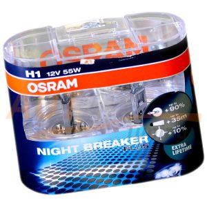 Галогенная лампа OSRAM Night Breaker Plus Extra lifetime, H1, DC 12V, 55W, 2 шт