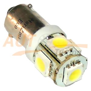 Светодиодная лампа белого света, 5 LED, BA9S, DC 12V, LW-00025W
