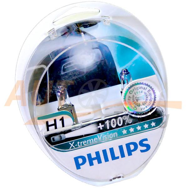 Галогенные лампы PHILIPS X-treme VISION Н1, DC 12V, 55W, 2 шт, +100% яркости