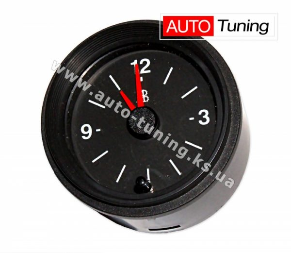 Часы электромеханические бесшумные с подсветкой на ВАЗ 2106, 12V, Black