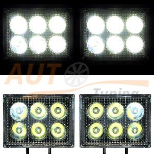 Светодиодная лампа-фара 6 LED, 115×85×40 (мм), ближний свет, 1 шт., 39-18