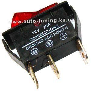Универсальный врезной клавишный выключатель с подсветкой 12В, on/off, Red