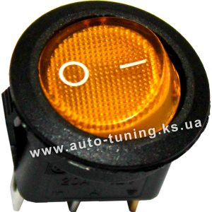 Врезной круглый клавишный выключатель с подсветкой 12В, on/off, Ø25 mm, Orange