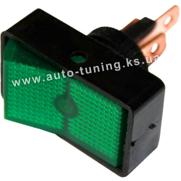 Прямоугольный врезной клавишный выключатель с подсвет. 12В, on/off, Ø10 mm, Green