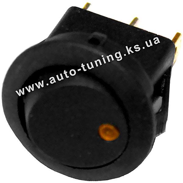 Врезной круглый клавишный выключатель с подсвет. 12В, on/off, Ø 20 mm, Orange